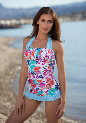 Open Back Ruched Halter - Aqua Floral Stripe - DM Fashion
