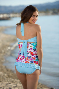 Open Back Ruched Halter - Aqua Floral Stripe - FINAL SALE - DM Fashion