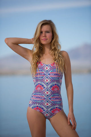 Lace Up One Piece - Tribal