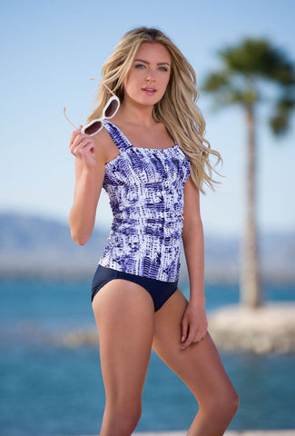 Ruched Square Tankini - Navy Tie Dye
