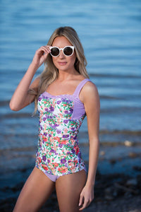 Sweetheart Ruched Tankini - Purple Floral Stripes - FINAL SALE - DM Fashion