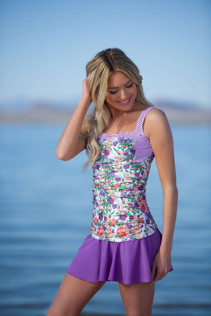 Sweetheart Ruched Tankini - Purple Floral Stripes