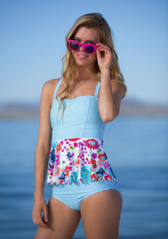 Scalloped Peplum Tankini - Aqua Floral Stripes - DM Fashion