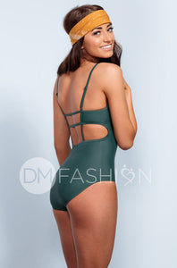High Neck Square Back One Piece - Jasper Green