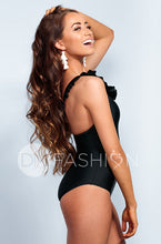Ruffle V Back One Piece - Black - DM Fashion