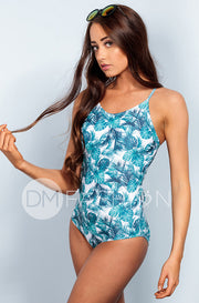 Lace Up One Piece - Palm Tree - DM Fashion
