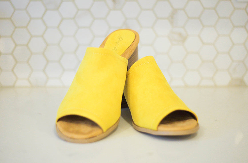 Doria Yellow One Band Suede Slide - FINAL SALE