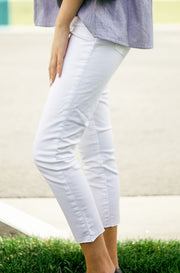 Articles of Society Crop Skinny Jeans in White Denim - DM Fashion