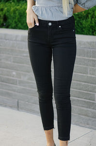 Articles of Society Crop Skinny Jeans in Black Denim - DM Fashion