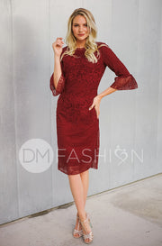 Catherine Deep Burgundy Lace Sheath Dress - DM Exclusive - FINAL SALE