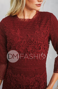 CATHERINE - Deep Burgundy Lace Sheath Dress - DM EXCLUSIVE