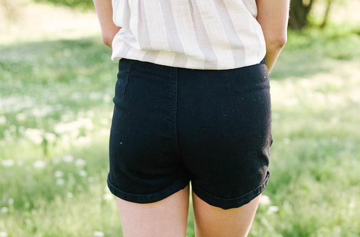 Remi Black High Waist Tie Shorts - FINAL SALE
