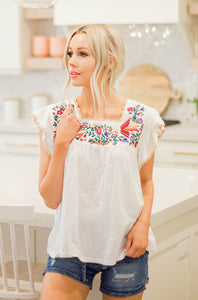 Spring Fever Floral Embroidered Top