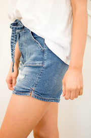 Remi Denim High Waist Tie Shorts - Resocked