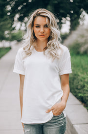 Luna White Cuffed Sleeves Tee - DM Fashion