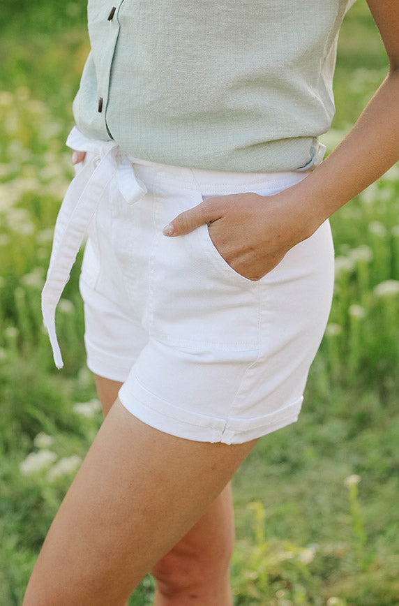 Remi White High Waist Tie Shorts - FINAL SALE
