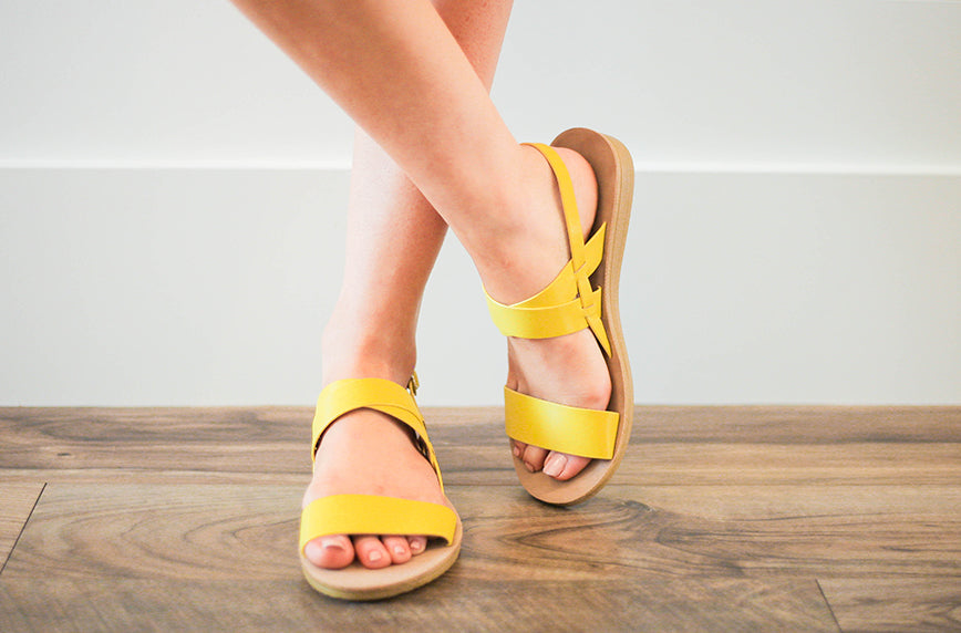 Flex Strappy Slingback Yellow Sandal - FINAL SALE