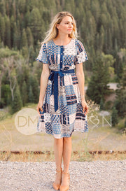 Matilda Blue Patchwork Dress - FINAL SALE