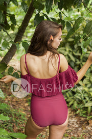 Off The Shoulder Red Plum Pleated Ruffle One Piece - FINAL SALE
