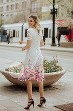 KATE - White Lace Dress with Painted Flowers -  DM EXCLUSIVE - DM Fashion