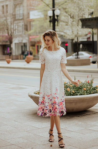 Kate White Lace Dress with Painted Flowers -  DM Exclusive - Restocked