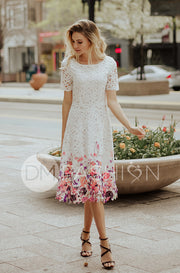Kate White Lace Dress with Painted Flowers -  DM Exclusive