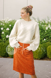 Park Place - Rust Corduroy Skirt - DM Exclusive
