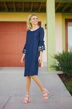 GRACE - Denim Ruffle Embroidery Shift Dress with Pockets - DM EXCLUSIVE - DM Fashion