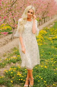 Emilia - Embroidery Lace Midi Dress