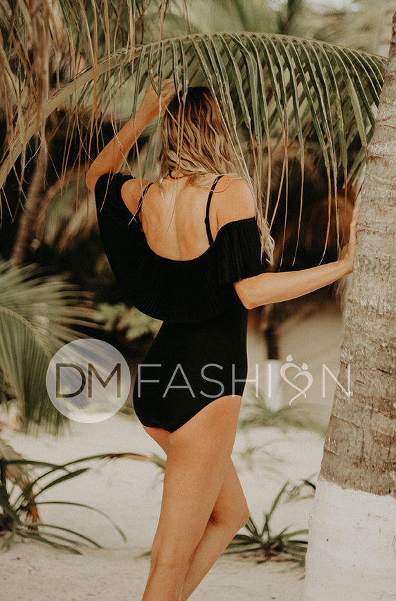 Off The Shoulder Black Pleated Ruffle One Piece - FINAL SALE