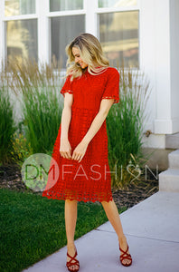 PIPER - Red Collared Lace Dress - DM EXCLUSIVE- PREORDER will Ship Oct. 7/2018 - DM Fashion