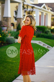 Piper Red Collared Lace Dress - DM Exclusive - Restocked FINAL SALE