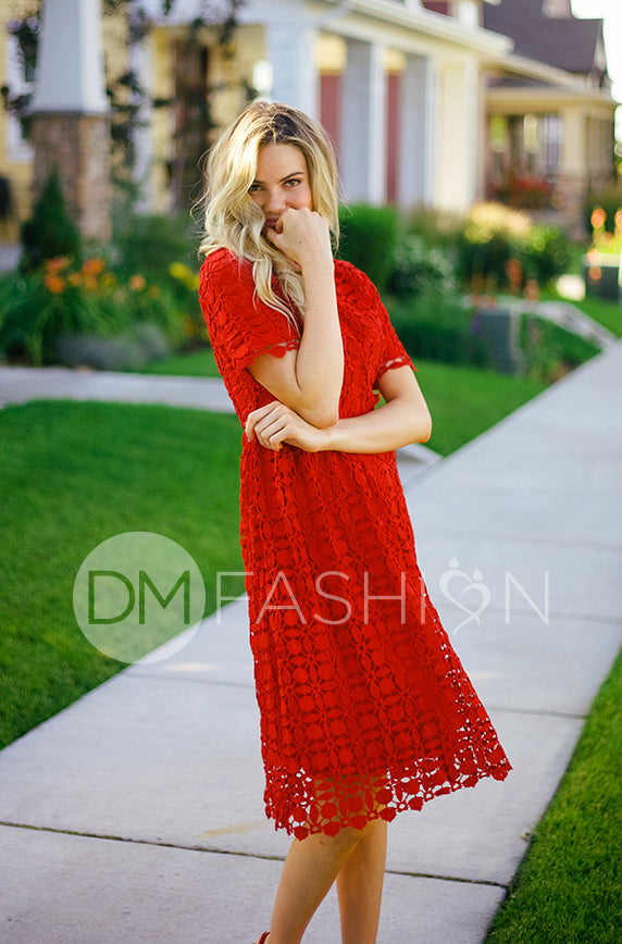 Piper Red Collared Lace Dress - DM Exclusive - FINAL SALE
