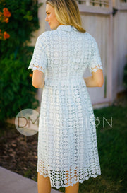 Piper Dusty Blue Collared Lace Dress - DM Exclusive - Restocked FINAL SALE