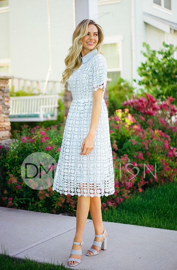 PIPER - Dusty Blue Collared Lace Dress - DM EXCLUSIVE