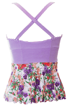 Scalloped Peplum Tankini - Purple Floral Stripes - DM Fashion