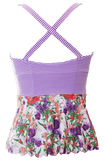 Scalloped Peplum Tankini - Purple Floral Stripes