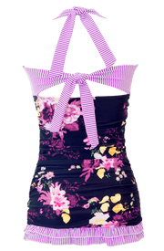 Open Back Ruched Halter - Black Floral Stripes - FINAL SALE - DM Fashion