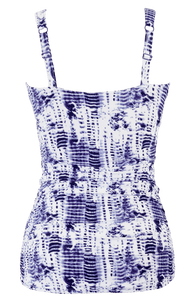 Ruched Square Tankini - Navy Tie Dye - FINAL SALE - DM Fashion