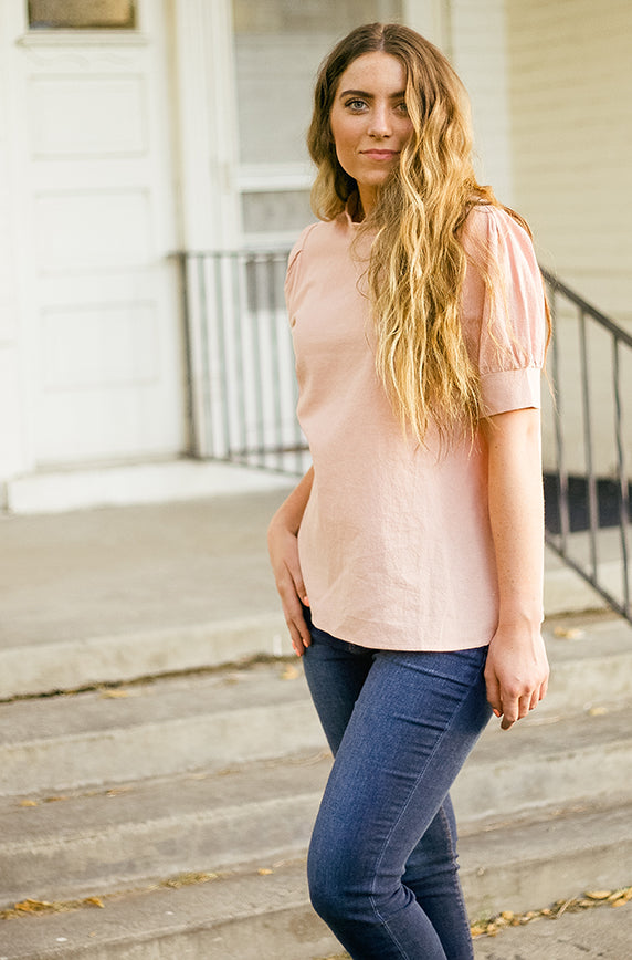Carraway Blush High Neck Top - DM Fashion