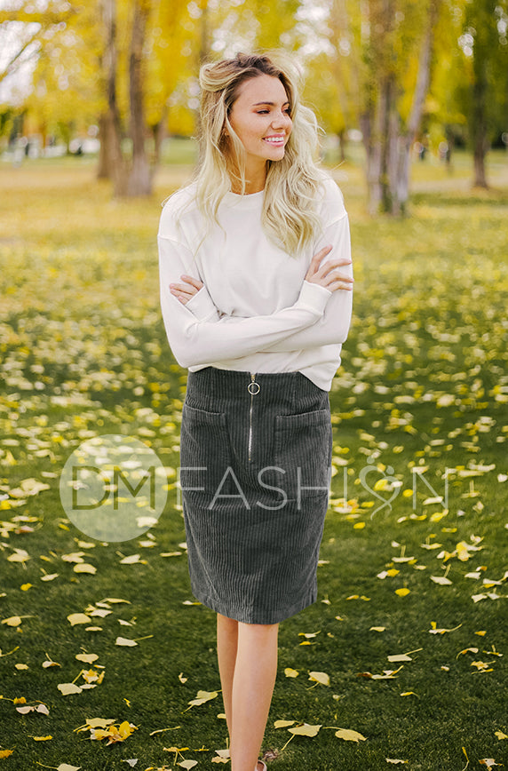 Park Place Olive Corduroy Skirt - DM Exclusive - Restocked