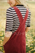 MANHATTAN - Burgundy Corduroy Jumper - DM EXCLUSIVE - DM Fashion
