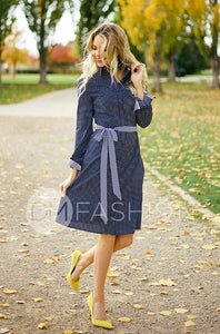 ALAINA - Navy Polka Dot Shirt Dress - DM Exclusive - DM Fashion
