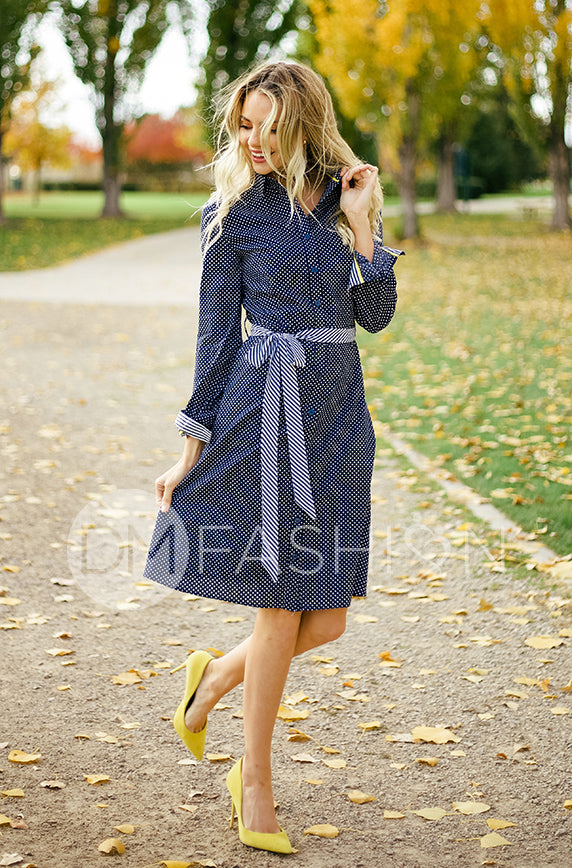 Alaina Navy Polka Dot Shirt Dress - DM Exclusive - FINAL SALE