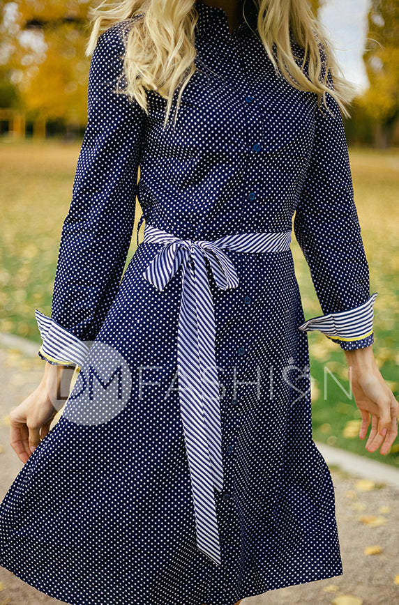Alaina Navy Polka Dot Shirt Dress - DM Exclusive - Restocked