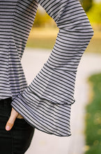Cypress Tiered Bell Sleeve Striped Top