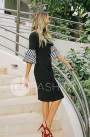 Andi Black Stripe Ruffle Point Dress - DM Exclusive - FINAL SALE