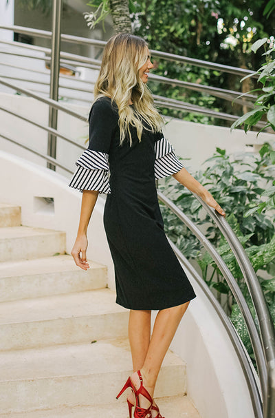 Andi Black Stripe Ruffle Point Dress - DM Exclusive - Restocked