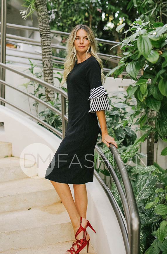Andi Black Stripe Ruffle Point Dress - DM Exclusive