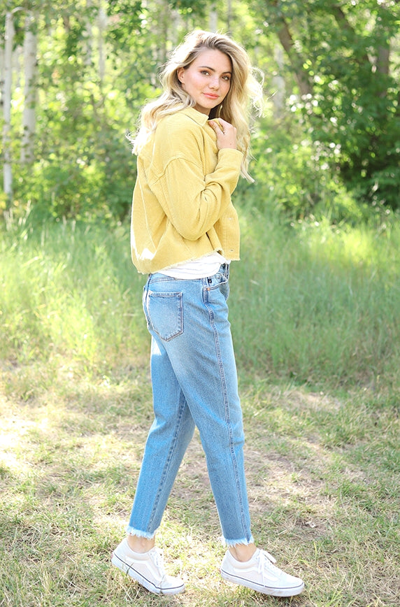 Timeless Yellow Corduroy Flare Jacket